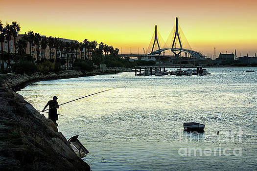 Fishing at Dusk Rio San Pedro Puerto Real Spain by Pablo Avanzini
