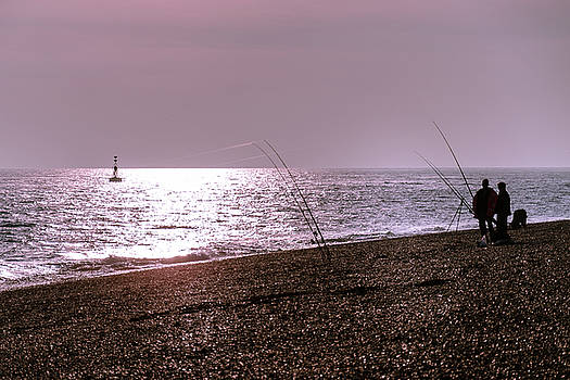Fishing at Sunset, Dungeness Beach by Perry Rodriguez