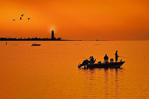 Fishing at sunset by Jeff S PhotoArt
