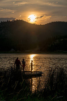 Mick Anderson - Fishing At Sunset Silhouette