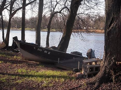 Fishing Boat Fox River IL by Deborah Finley