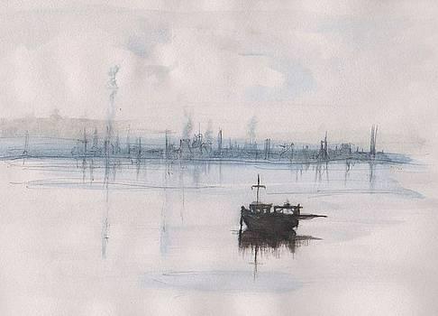 Fishing boat in the smoke by Kate Loveridge
