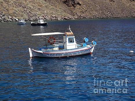 Fishing boats by Santorini caldera by Mitzisan Art LLC