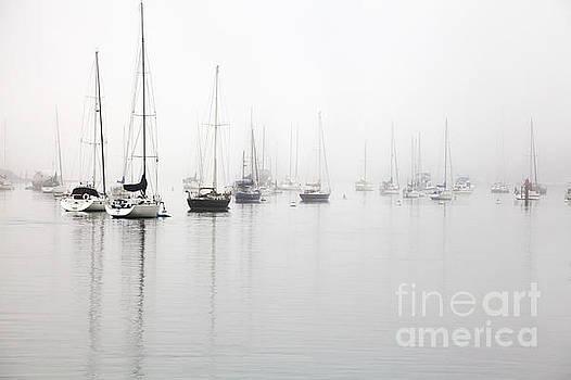 Boats in Morro Bay Fog by Sharon Foelz