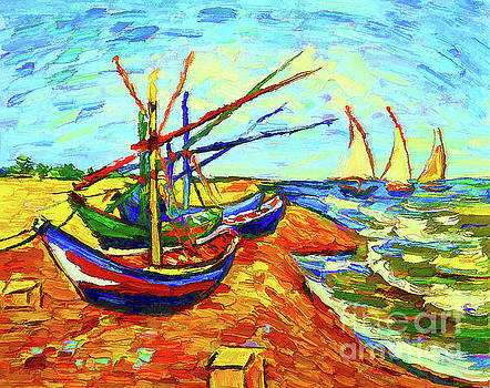 Fishing Boats on the Beach by D Fessenden
