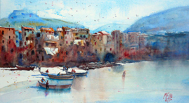 Fishing boats on the beach of Cefalu by Andre MEHU