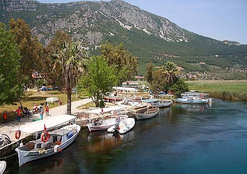 Tracey Harrington-Simpson - Fishing Boats on The River Azmak Akyaka Turkey