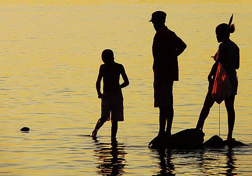 Fishing Family at Sunset by Jonny Jelinek