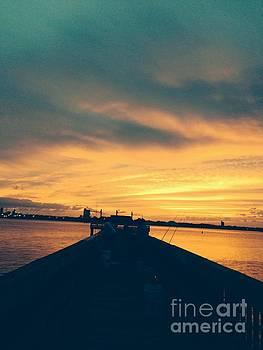 Fishing in Golden Light by Mitzisan Art LLC