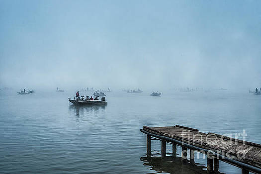 Fishing in the Fog Summersville Lake  by Thomas R Fletcher