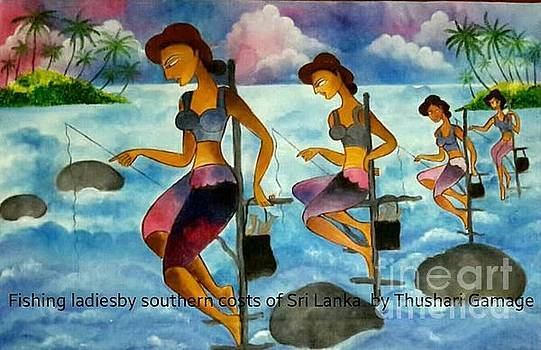 Fishing ladies by Southern costs of Sri Lanka by Ceylon Art Gallery