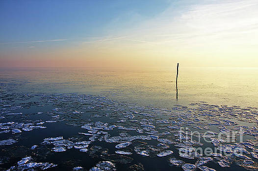 Fishing net stick in calm frozen water by Jan Brons