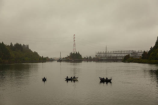 Fishing on Foggy Columbia River by David Gn