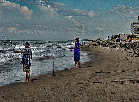 Fishing On The Beach by Marilyn Holkham