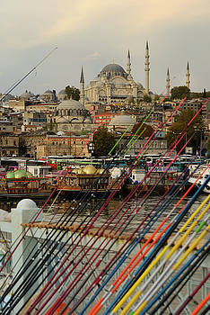Reimar Gaertner - Fishing rods for sale on Galata Bridge over Golden Horn with Sul