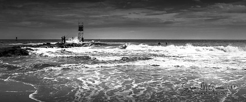Fishing the Wrong Side BW by Shawn M Greener
