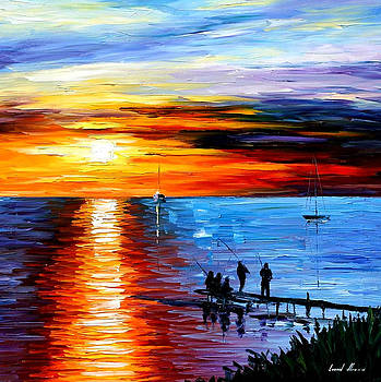 Fishing With Friends - PALETTE KNIFE Oil Painting On Canvas By Leonid Afremov by Leonid Afremov