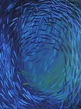 Fishswarm  120 X 160 Cm by Sirpa Mononen