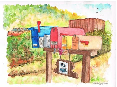 Five mail boxes in Route 1, San Simeon, California by Carlos G Groppa