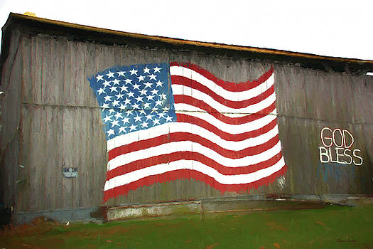 Flag and Barn - Painting by Ericamaxine Price