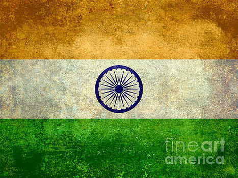 Flag Of India Vintage 18x24 Crop Version by Bruce Stanfield