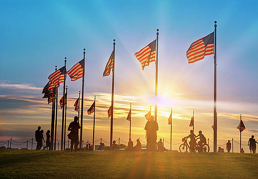 Flags at Washington Memorial by Rima Biswas