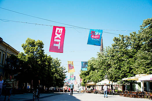 Newnow Photography By Vera Cepic - Flags of EXIT festival 2015 in city center of Novi Sad