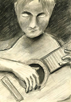Flamenco Guitar Player Charcoal Study 1 by Miko At The Love Art Shop