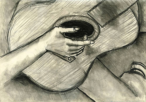 Flamenco Guitar Player Charcoal Study 2 by Miko At The Love Art Shop