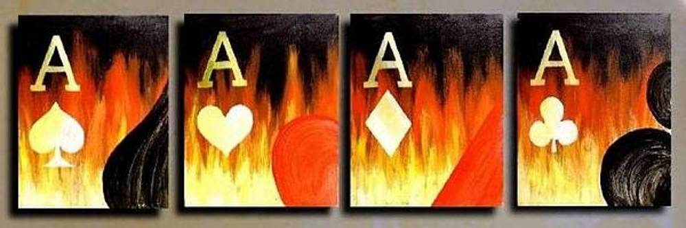 Flaming Poker Aces by Teo Alfonso
