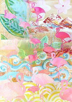 Flamingo Collage by Claudia Schoen