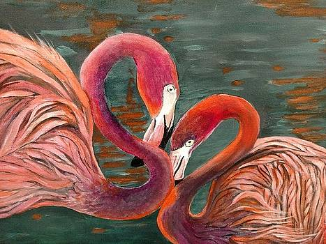 Flamingo Couple by Joan Mansson