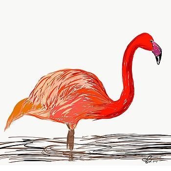 Flamingo - Digital Art by Ed Berlyn
