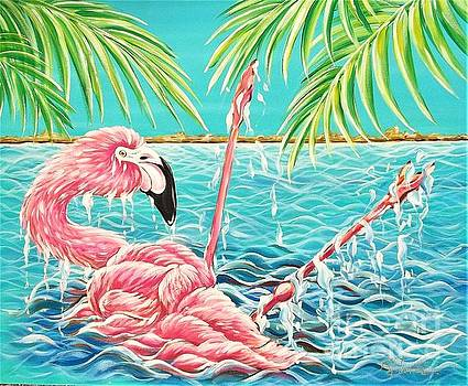 Flamingo Falling 1 by Renee Hilimire