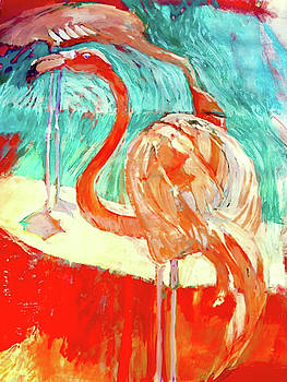 Flamingoes in Paradies by Trish Vevera