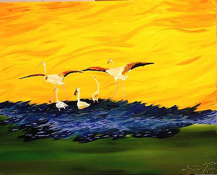 Flamingoes On The Wing by Gregory Allen Page