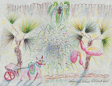 Suzanne  Marie Leclair - Flamingos and Donkey