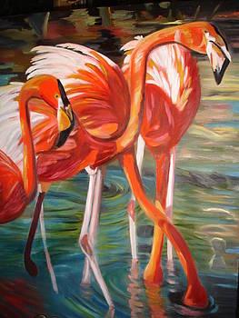 Flamingos by Linda Mungerson