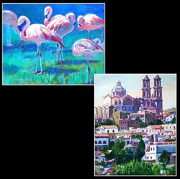 Flamingos by Nettie Pleuchhahn