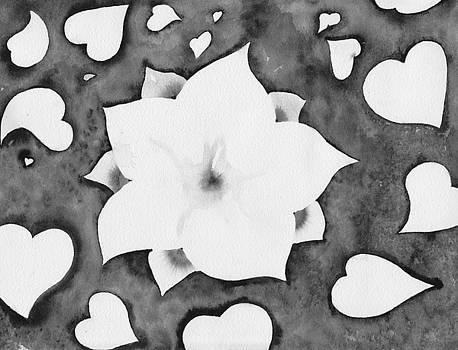 Fleur Et Coeurs Monochrome by Marc Philippe Joly