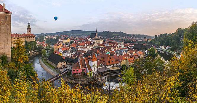 Flight over the medieval town by Dmytro Korol