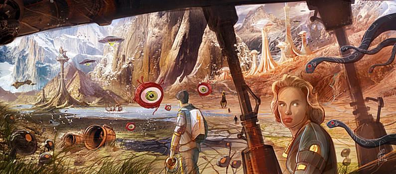 Flight to Venus original painting by Luis Peres
