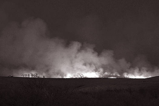 Flint Hills Fire in Monochrome by Thomas Bomstad