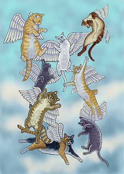 Flock of Angel Cats by Rachel Armington