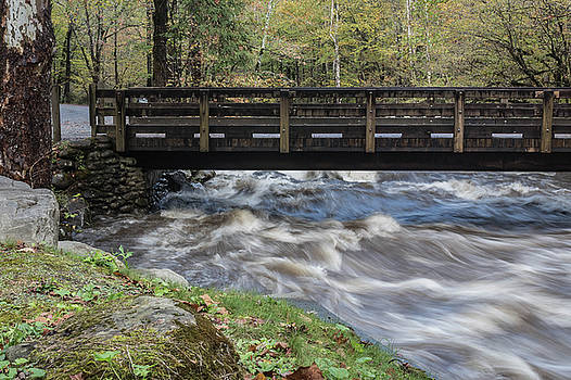 Flood waters rushing beneath a bridge in the Great Smoky Mountains by Natalie Schorr