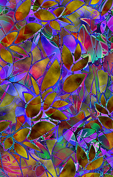 Floral Abstract Stained Glass G129 by Medusa GraphicArt
