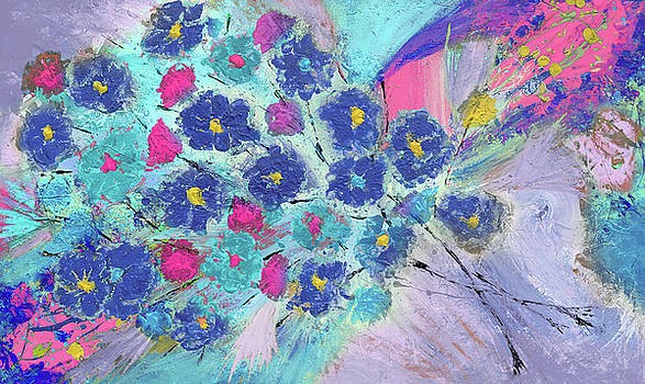 Floral Bouquet Abstract Painting  by Julia Fine Art