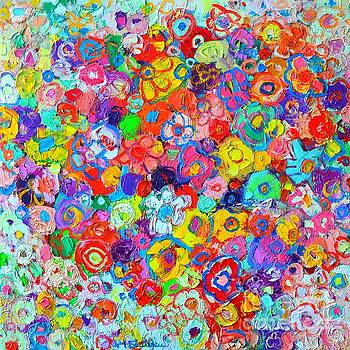 ANA MARIA EDULESCU - FLORAL CELEBRATION - ABSTRACT FLOWERS ORIGINAL OIL PAINTING