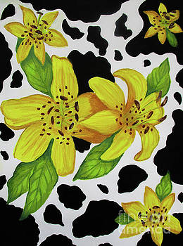 Floral Cow Print by Dawn Siegler