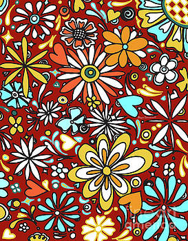 Floral Fiesta II Pattern Flowers and Hearts by Megan Duncanson by Megan Duncanson